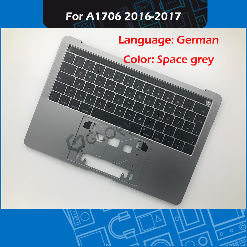 """Laptop A1706 Top case with German Keyboard for MacBook Pro 13"""" Retina Touch Bar Space Grey Late 2016 Mid 2017 EMC 3071 3163-in Laptop Bags & Cases from Computer & Office    1"""