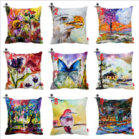 Watercolor Abstract Flowers Eagle Moon Tulips Butterfly Print Car Sofa Decorative Pillowcase Cushion Cover Home Decor