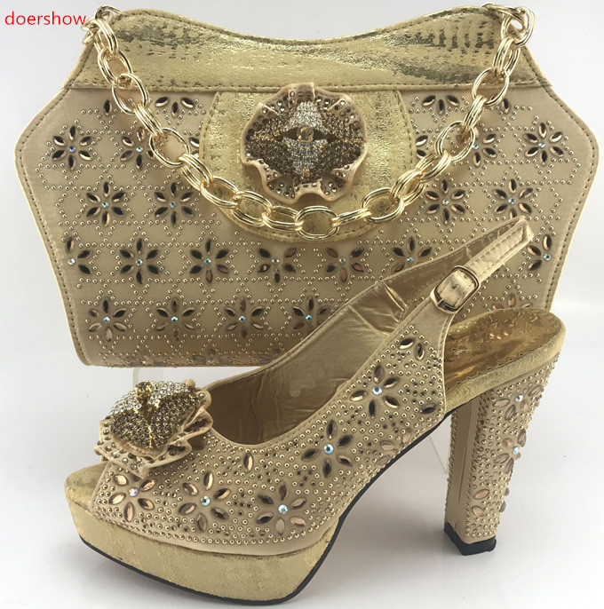 doershow High Quality Italian gold Shoes With Matching Bags Set New African High Heels Shoes And Bag Sets For Wedding SMB1-2 doershow italian shoes with matching bags set italy african women s party shoes and bag sets pink color women shoes smb1 4