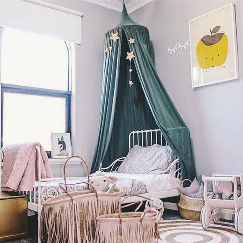 240cm Kids Mosquito Net photography props baby room decoration bed canopy curtain baby tent Crib folding