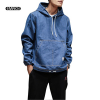 Autumn New Men Pullover Hooded Denim Jacket Male Fashion Casual Jeans Coat Outerwear