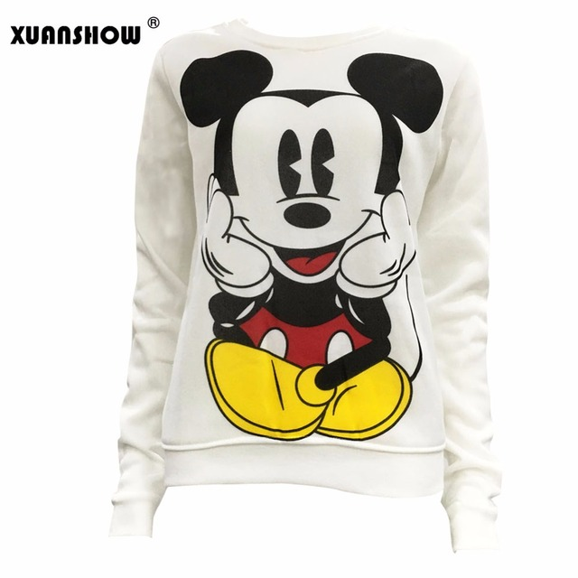 XUANSHOW 2018 Women Sweatshirts Hoodies Character Printed Casual Pullover Cute Jumpers Top Long Sleeve O-Neck Fleece Tops S-XXL 1