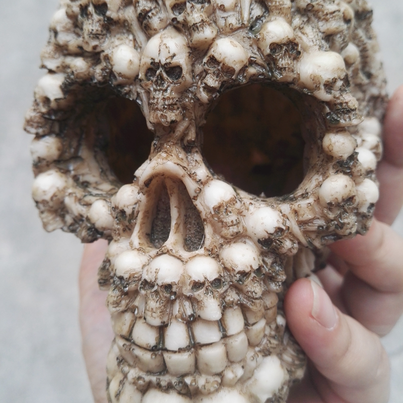 Aquarium Ornament Resin Trypophobia Skull 14 9 11 5cm For Fish
