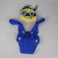 크로 셰 뜨개질 니트 하수인 의상 사진 소품 아기 신생아 코튼 원사 모자 + 바지 세트 수제 유아 아기 사진 의상