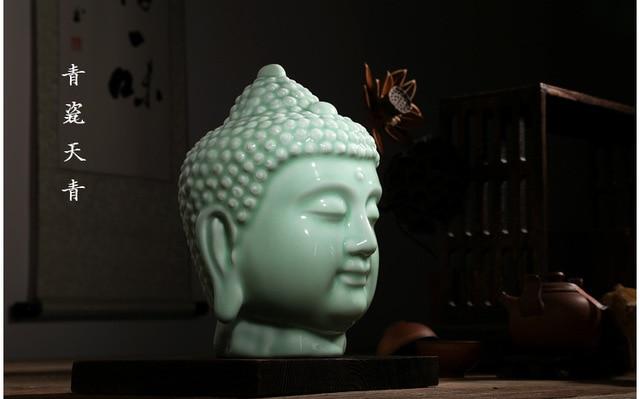 TNUKK Keramik Buddha kopf statue wohnkultur buddhistischen abbildung ...