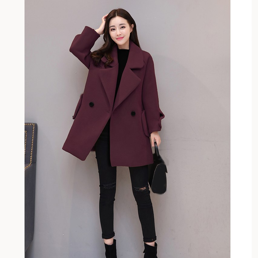 Women Green Warm Coat 2018 Blends Breasted Wool Fashion Thick Sleeve Elegant Double New Autumn Beige yellow burgundy Blend Long army Winter red 6U05wqnIxB