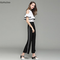 KoHuiJoo 2017 Wonen Sexy Wide Leg Pants Suits Sets Summer Fashion Top And Pants Two Piece