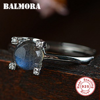 BALMORA 925 Sterling Silver Moonstone Resizable Rings for Women Lady Girl Gift Vintage Ring Fashion Jewelry Anillos TRS22163