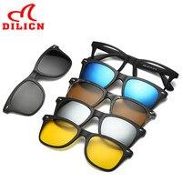 DILICN Women Magnetic Clip On Sunglasses Men Night Vision Driver Magnet Mirror Flip Sun Glasses Polarized