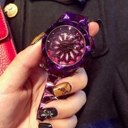 Поворот вокруг стали ремешок для часов женские часы Досуг простые часы Женская мода платье матч водостойкий леди вращающиеся наручные часы