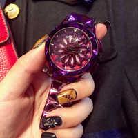 Turn rond staal horlogeband dameshorloge leisure eenvoudige horloge vrouwelijke mode jurk match waterdicht lady rotatie horloge