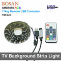 USB RGB LED Luz de Tira 1 M 5 V TV Fundo Iluminação Cabo USB 60 LEDs Cuttable Com 17key Remoto à prova d' água 5050 backlight tira