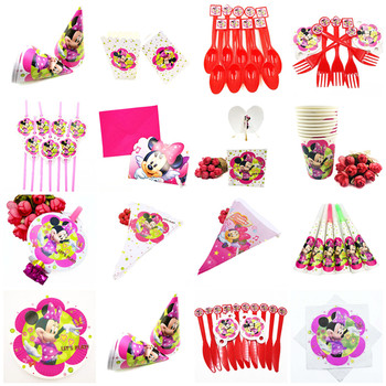Minnie Mouse Party Decorations Flags Tablecloth Straws Cups Plates Candy Popcorn Box Party Supplies Kid minnie mouse Birthday image