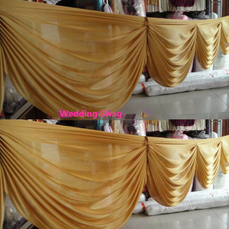 Gold ice silk curtain swags for backdrop 20ft long skirt for wedding drapery swags new detachable wedding swags decorations