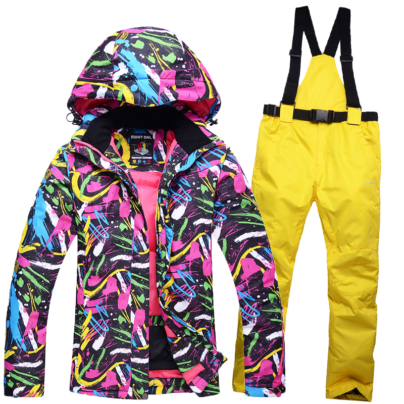 Free Shipping Female Ski Suit Snowboard Suit Jacket + Pant Waterproof Windproof Breathable Clothing Winter Thermal Clothes Women le suit women s water lilies woven pant suit with scarf