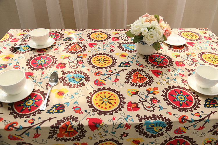 National wind explosion models cotton linen tablecloths Sun flower table cloth tablecloth Table Covers for Wedding Party Home 12