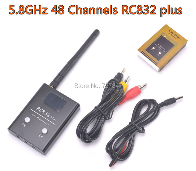 FPV 5.8G 5.8GHz 48 Channels RC832 plus Receiver With A/V and Power Cables fpv wireless 5 8g 48ch rd945 dual diversity receiver with a v and power cables for fpv racing drone rc airplane toys part