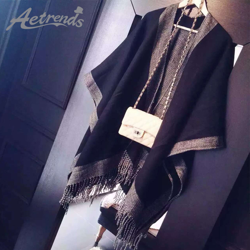 AETRENDS New Brand Women Cashmere Feel Scarf Poncho Duplex Winter Cape Shawls and Scarves Z