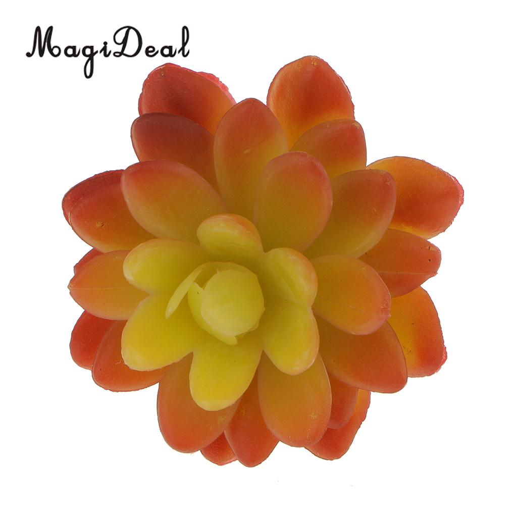 MagiDeal Artificial Succulent Real Touch Stone Lotus Flower Foliage ...