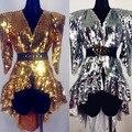 Блесток боди пальто длинный Европейская мода певица DJ DS костюм плечами блестками этап танцор производительность звезды сексуальный ночной клуб