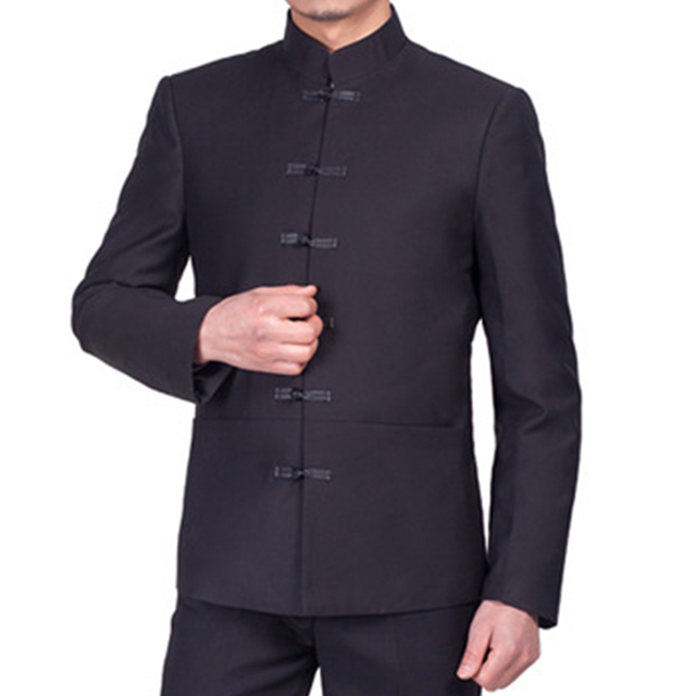 Traditional Chinese Suit Jacket Frog Closure Single Breasted Mens Black Tunic Suit Jacket Mandarin Collar