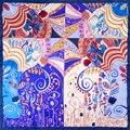 100% Bufanda de Seda Bufanda de Las Mujeres Zentangle Bufanda Hijab Pañuelo De Seda 2017 Flor Cuadrada Media de Seda Foulard Bufanda Regalo Caliente para la navidad señora