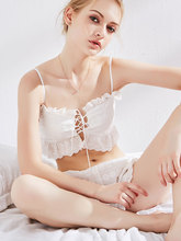 New sexy woman Lingerie retro home service white lace adjustable strapless tube top underwear pajamas set white strapless knot at sleeves lace top