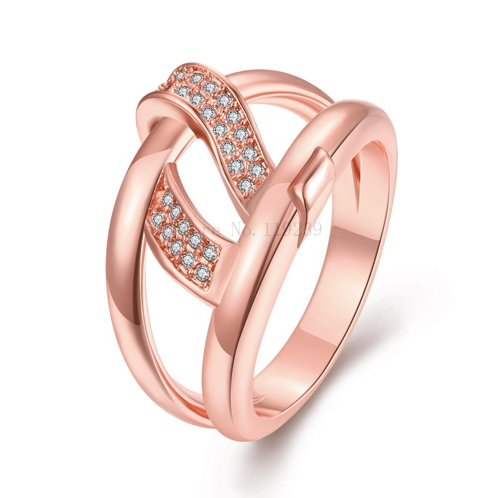 ZR262 B 8 Top Quality Rose Gold Color Crystal Stone Ring Wave For ...