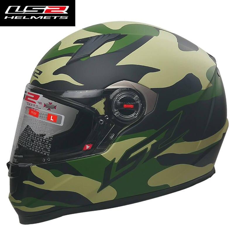 LS2 FF358 casque moto vert armée intégral racing moto casque homme femmes matériel d'abs peut ajouter visière noire LS2 casques