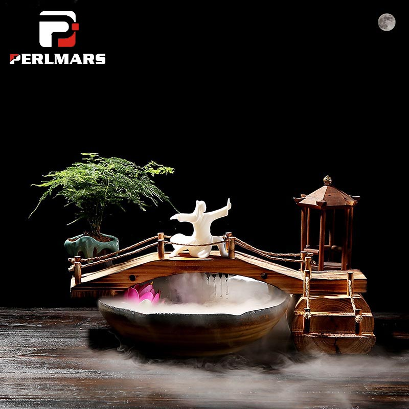 110 v-240 v Chinois Style Zen Qui Coule Fontaine D'eau Céramique Réservoir de Poissons Feng Shui Chanceux Ornements De Bureau Bureau humidificateur Cadeaux