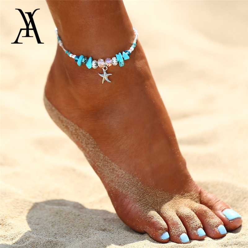 Bohemia Starfish Natural Stone Ankle for Women Bracelet on Leg Choker Ankles Sandal China Jewellery Summer Holiday Accessories