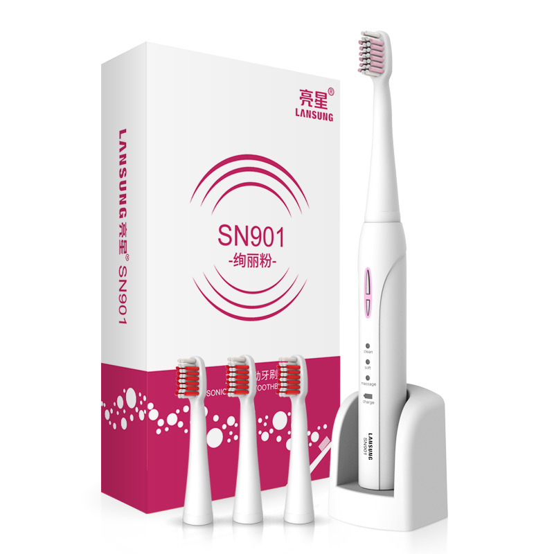 LANSUNG SN901 Ultrasonic Sonic Electric Toothbrush Rechargeable Tooth Brushes With 4 Pcs Replacement Heads Toothbrush Oral 2pcs philips sonicare replacement e series electric toothbrush head with cap