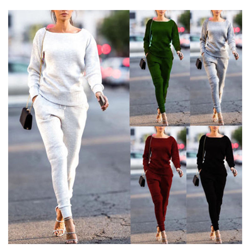Lossky Women Set Knitted Suit 2019 Casual Track Suit O-neck Long Sleeve Solid Bodycon  Women's Sports Suits Spring Autumn Winter