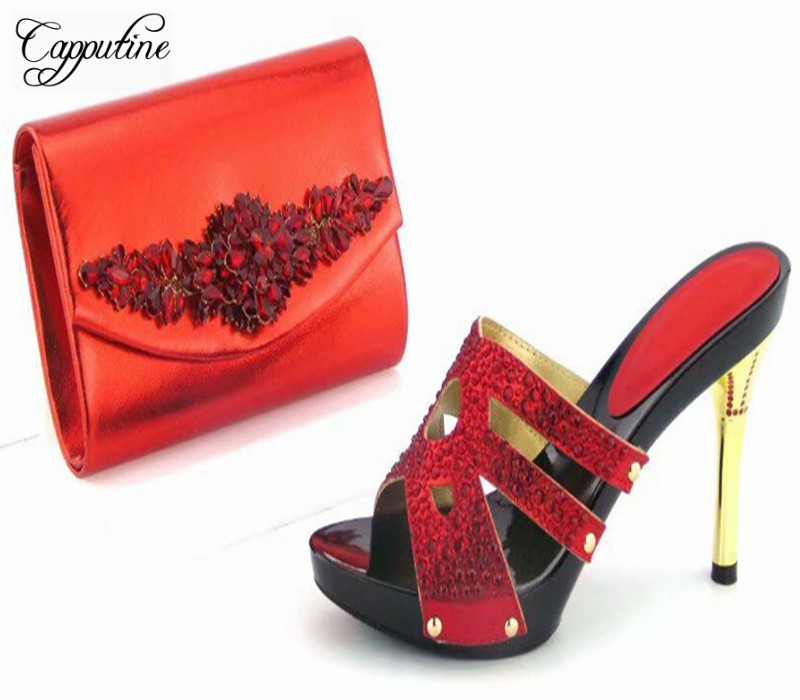 Capputine Africa Desgin Rhinestone Shoes And Purse Set Nigeria Style Summer High Heels Shoes And Bag Set For Wedding Party capputine summer style africa low heels woman shoes and bag fashion slipper shoes and purse set for party size 38 42 tx 8210