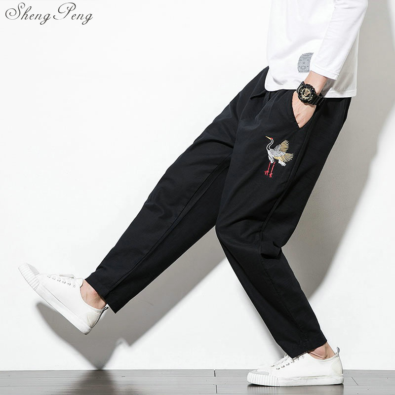 Traditional Chinese clothing for men wushu clothing kung fu pants linen male Chinese pants wing chun clothing V1366