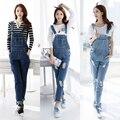 2017 Fall Fashion Brand Style Women Jeans Rompers Macacao Feminino Ripped Jumpsuit denim bib overalls women