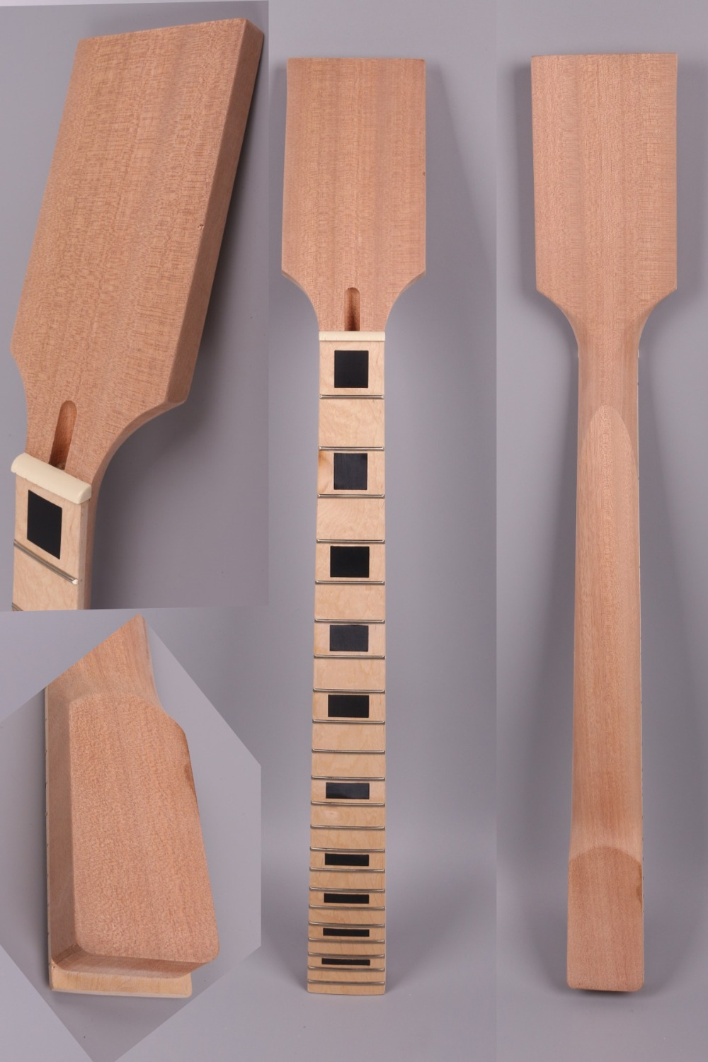 Yinfente Electric Guitar Neck 22 Fret 24.75 Inch Paddle Head Maple Fretboard Block Inlay electric guitar replacement neck #D3 2 set electric guitar neck paddle head maple 22 frets dot inlay unfinished