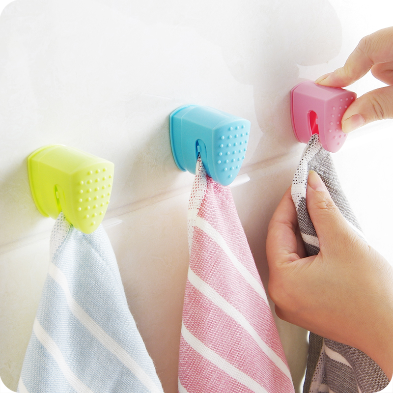 Kitchen Towel Hooks For Towels: Towel Clip Self Adhesive Dish Cloth Hanging Hook Dish