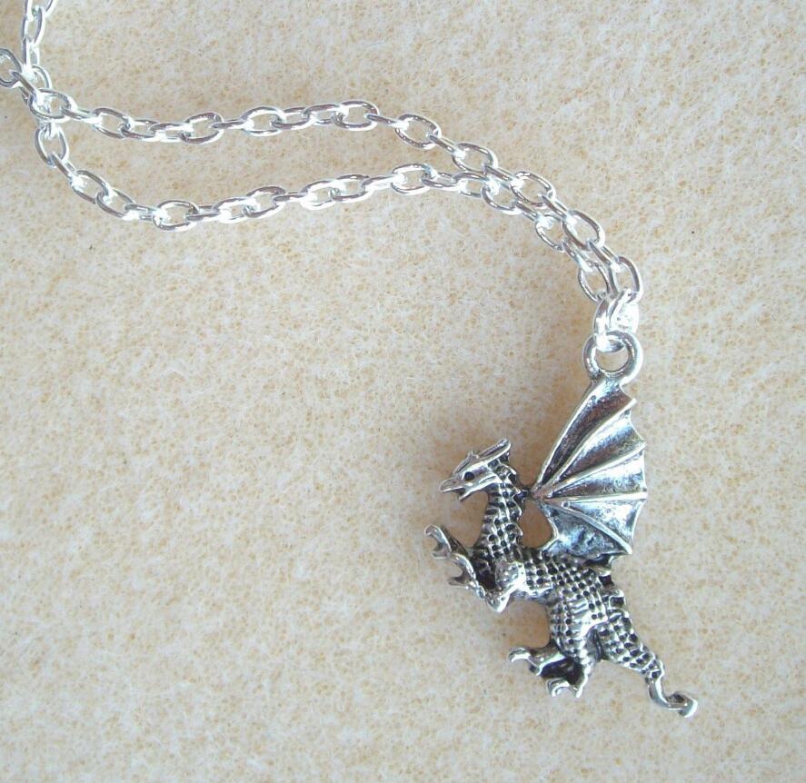 Drop shipping Winged Dragon Pendant 18 S/P Chain Necklace - Myth Magic Fantasy