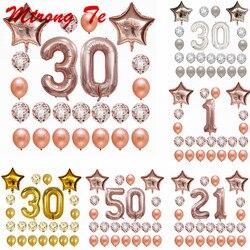 24 unids/set 16 21 30 40 50 60 Feliz cumpleaños Rosa oro estrella confeti 40 pulgadas número globo de aluminio cumpleaños decoración de fiesta suministros