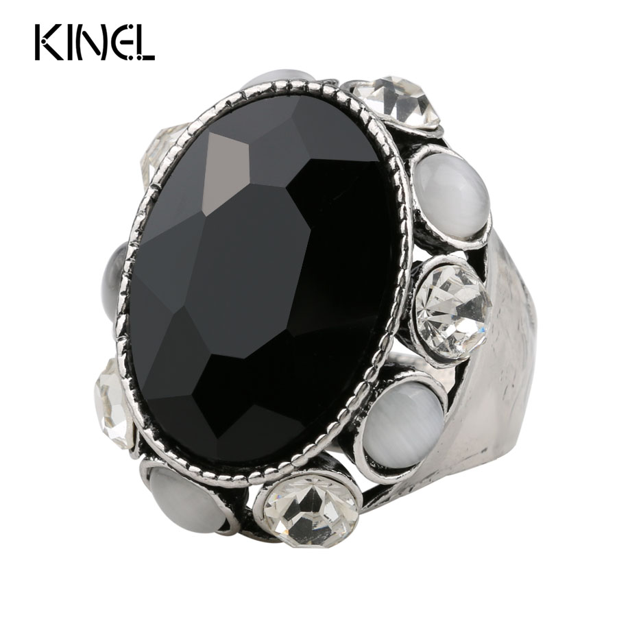 Unique Vintage Punk Big Rings For Women Antique Silver Color Mosaic Crystal Ring Womens Jewelry Gifts
