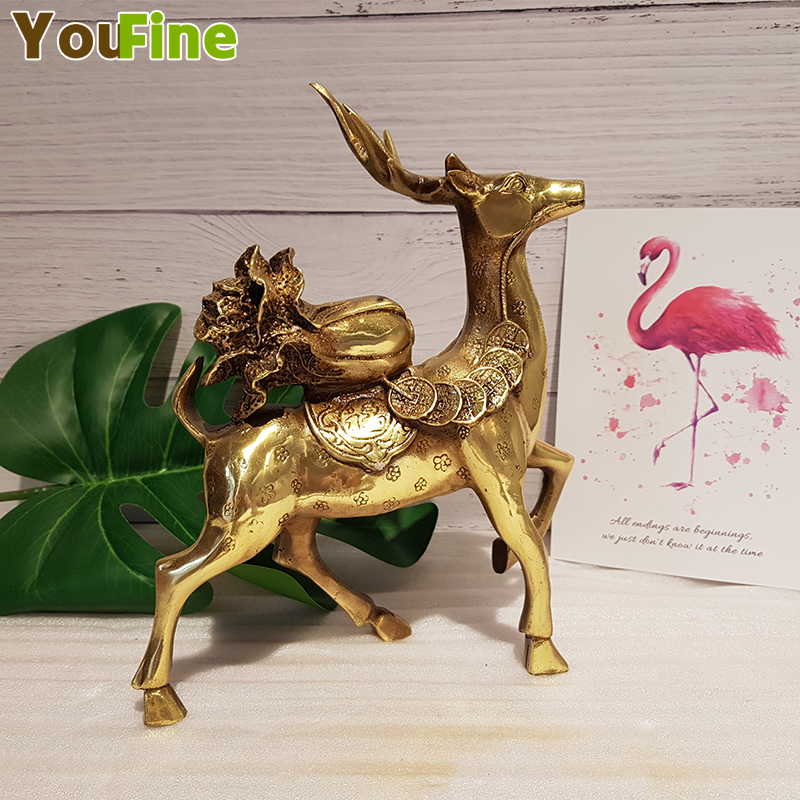 Copper deer ornaments with blessings copper coins Yuanbao cabbage lucky home living room jewelry shop opening gift craftsCopper deer ornaments with blessings copper coins Yuanbao cabbage lucky home living room jewelry shop opening gift crafts
