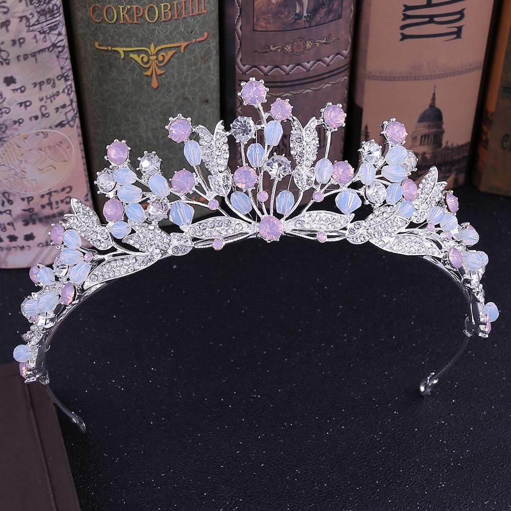 Тиара ручной работы в стиле барокко с розовыми хрустальными бусинами, свадебные тиары, короны, Вуаль со стразами, свадебные аксессуары для в...