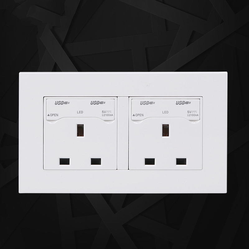 13A UK Standard Wall Power Socket Double UK Standard Outlet Switched 2 1A Dual USB Charger Port 146mm 86mm in Electrical Plug from Consumer Electronics