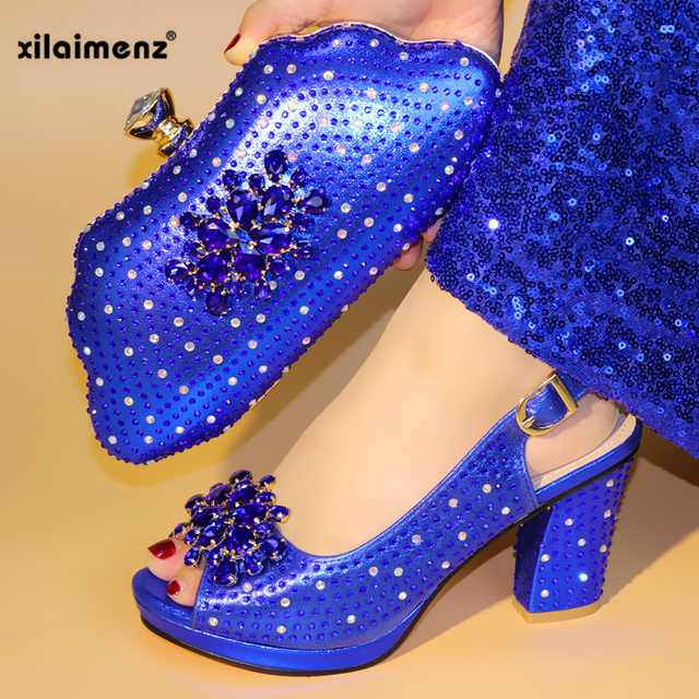 Royal Blue Fashion Italian Shoes With Matching Clutch Bag Hot African Big Wedding With High Heel Sandals and Bag Set