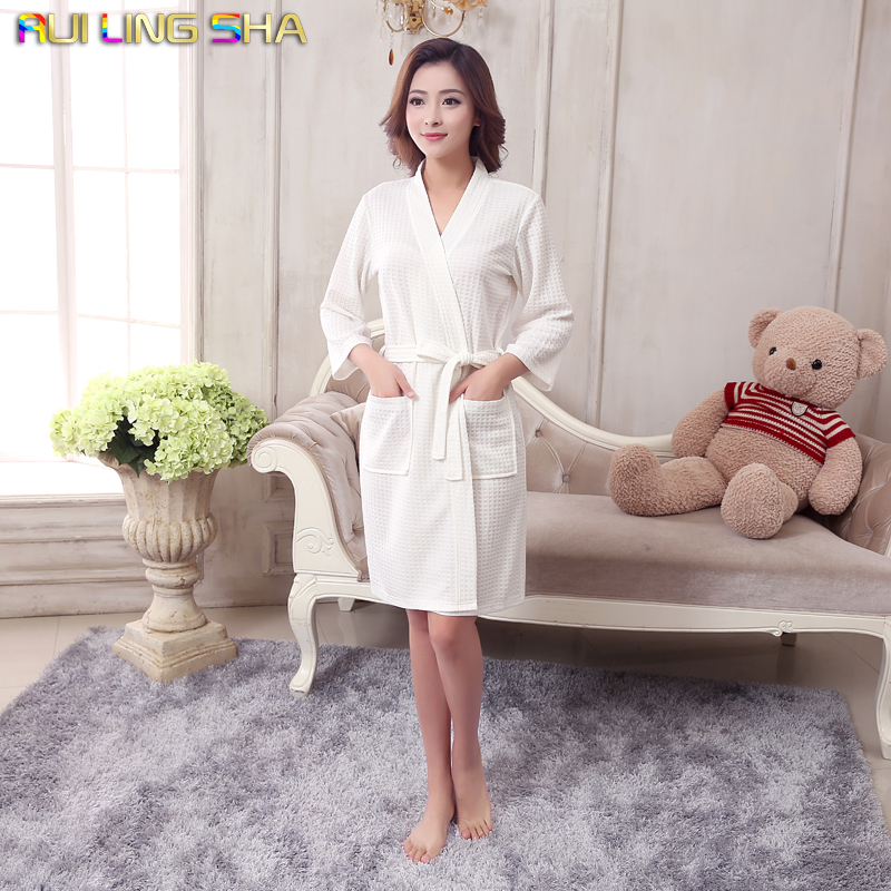 Towel Bath Robe Dressing Gown Unisex Men Women Sleeve Solid Waffle Sleep Lounge Bathrobe Peignoir Nightgowns Lovers Robes