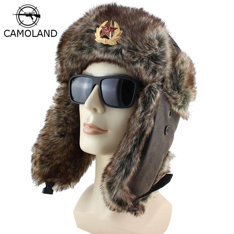 Winter Soviet Badge Bomber Hats Plush Earflap Russian Ushanka Men Women's Trapper Pilot Hat Faux Leather Fur Fashion Snow Caps