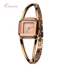 KIMIO Square Fashion Skeleton Bracelet Rose Gold Watches 2016 Luxury Brand Ladies Watch Women Female Quartz-watch Wristwatches