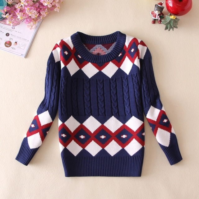New 2015 Girls Sweaters Children's Hooded Pullover Sweater Boys Pullover Baby Girls Autumn&winter Clothes Plaid Boys Knit Vest