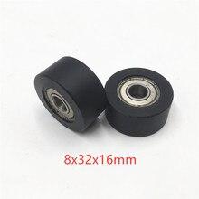 Высокая загрузка двойной 628zz шарикоподшипник POM направляющий ролик колеса двойной подшипник с покрытием пластиковые колеса 8 мм* 32 мм* 16 мм ролик